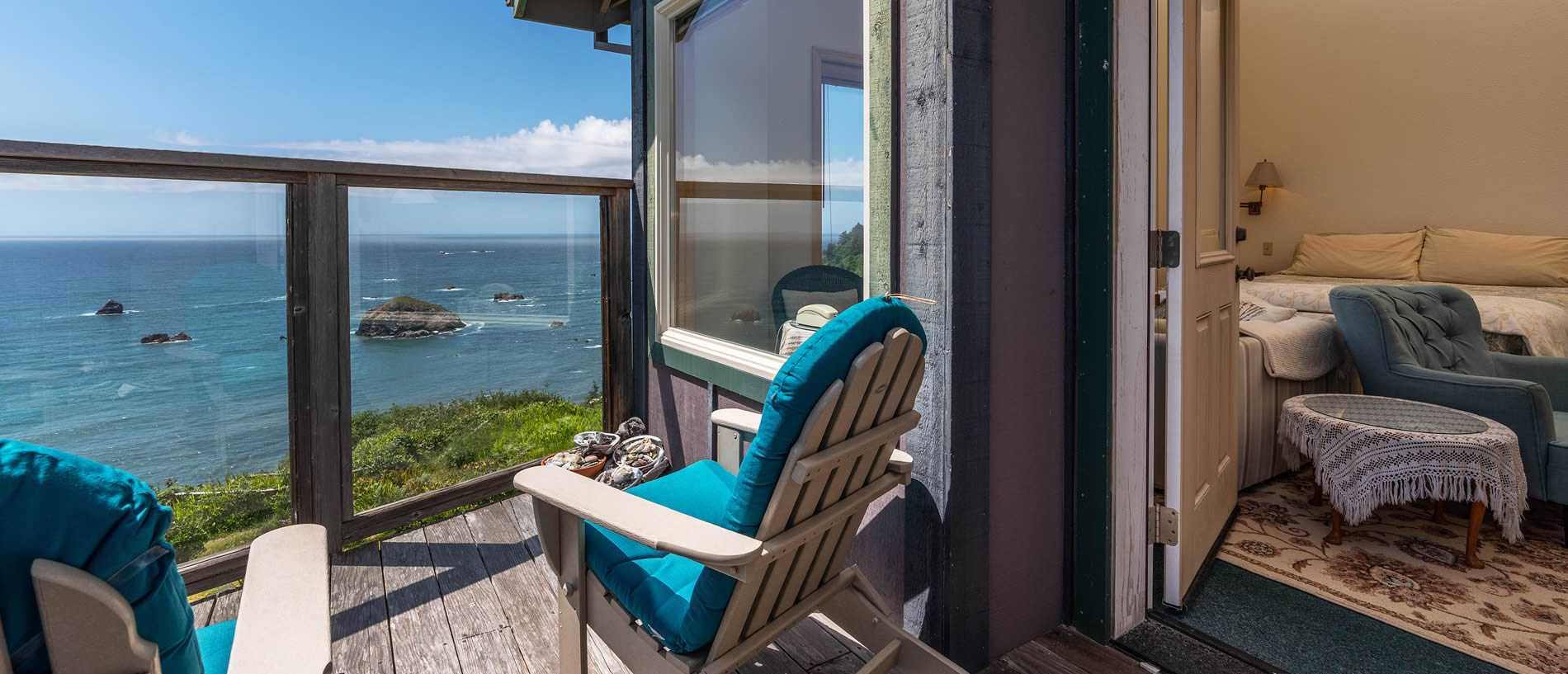 guestroom deck northern california coast bed and breakfast - oceanview lodging in trinidad ca